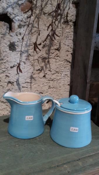 Milchkännchen und Zuckerdose, Keramik blau