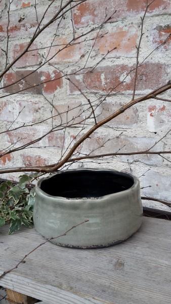 Keramikblumenschale Grün Klein
