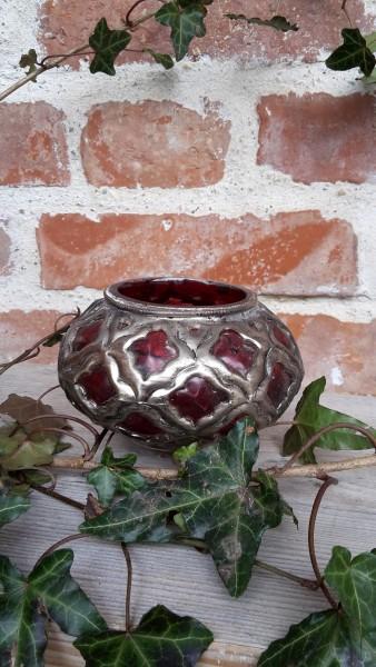 Teelichtglas Rot Mit Antiker Metallverzierung
