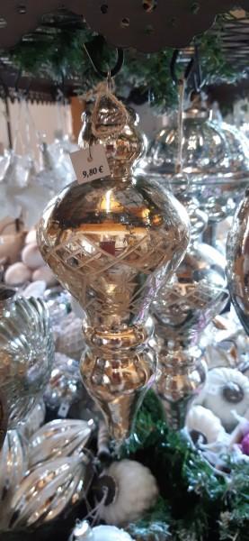 Glaszapfen Silber mit Gravur