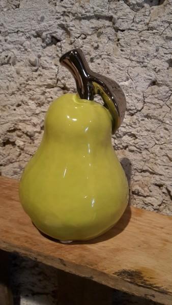 Birne grün/silber glasiert