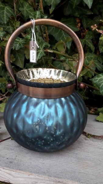 Windlichtglas Blau Groß Bauchig