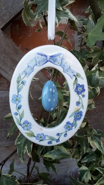 Keramikanhänger Ei Blau
