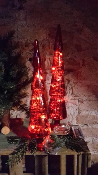 Glastanne Rot klein mit LED Beleuchtung