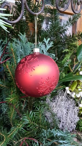 Weihnachtskugel rot groß, Baumschmuck
