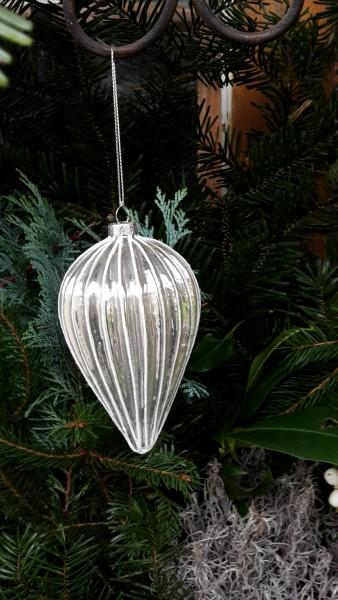 Glasspindel silber mit weißer Verzierung, Baumschmuck