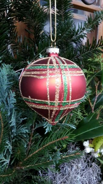 Weihnachtskugel rot Zwiebelform, Baumschmuck