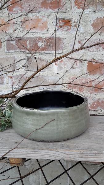 Keramikblumenschale Grün