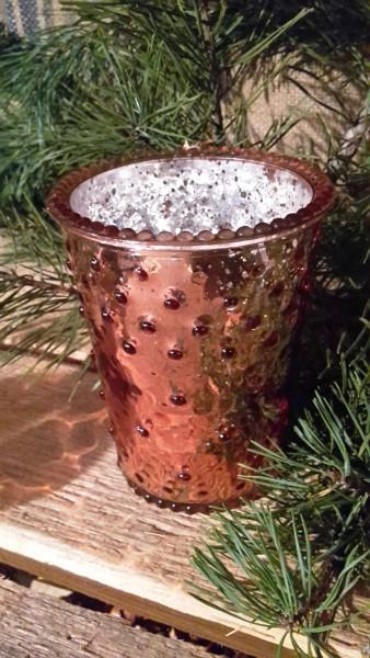 Kerzenglas Kupfer mit Noppen