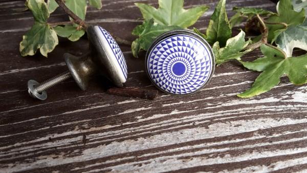 Möbelknopf Blau Gemustert