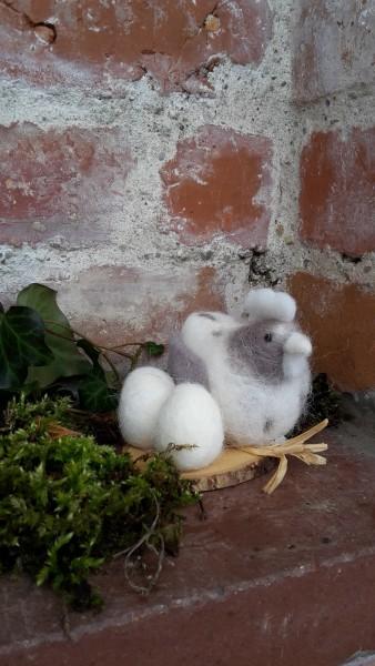 Filzhuhn Mit Eiern