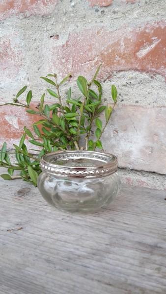 Teelichtglas Silberrand