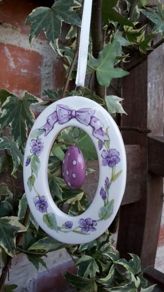 Keramikanhänger Ei Flieder