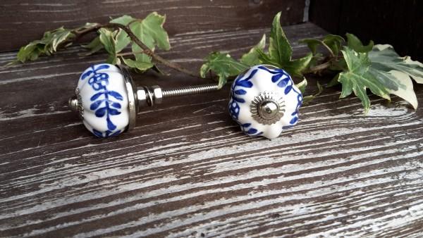 Möbelknopf Weiß/Blau gemustert